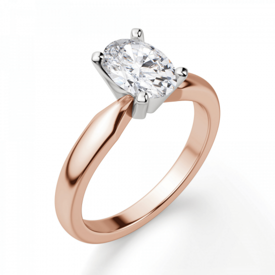 Кольцо с овальным бриллиантом из розового золота,  Больше Изображение 3