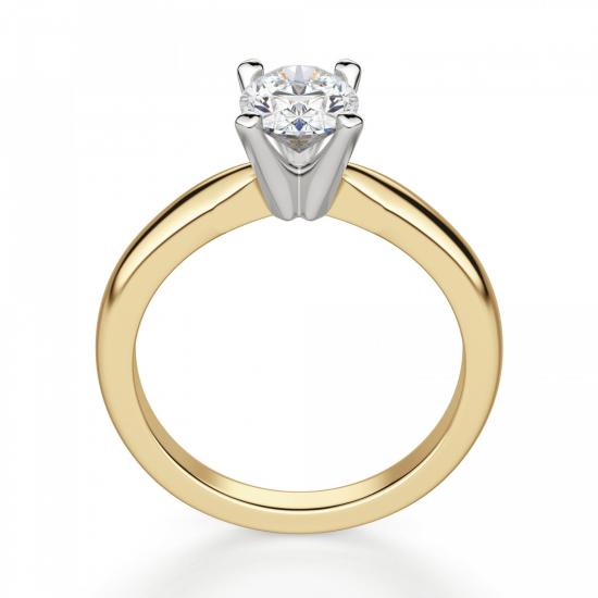 Кольцо из желтого золота с овальным бриллиантом,  Больше Изображение 2