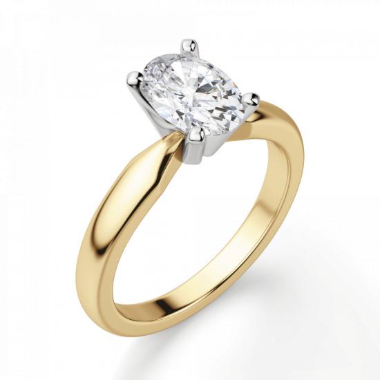 Кольцо из желтого золота с овальным бриллиантом,  Больше Изображение 3