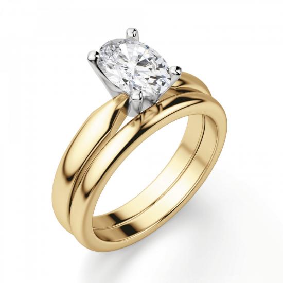 Кольцо из желтого золота с овальным бриллиантом,  Больше Изображение 4