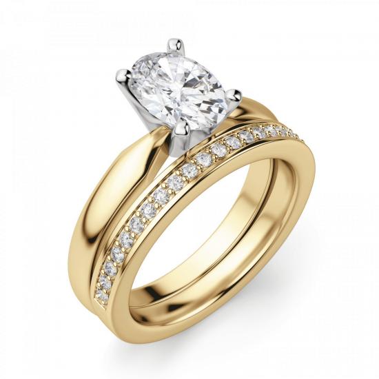 Кольцо из желтого золота с овальным бриллиантом,  Больше Изображение 5