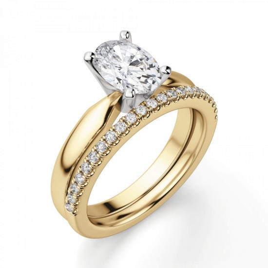 Кольцо из желтого золота с овальным бриллиантом,  Больше Изображение 6