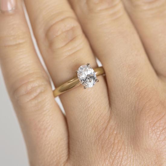 Кольцо с овальным бриллиантом из розового золота,  Больше Изображение 5