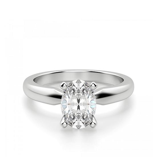 Кольцо из белого золота с бриллиантом овал, Больше Изображение 1