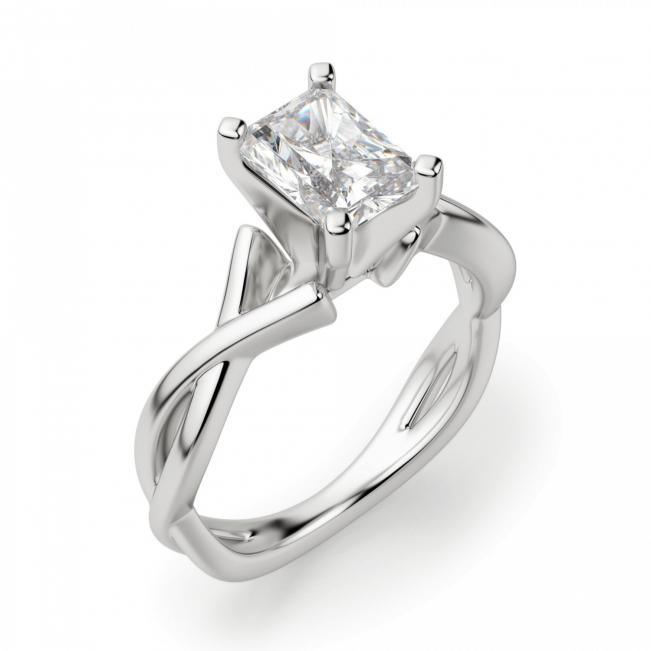 Кольцо из золота с бриллиантом радиант - Фото 2