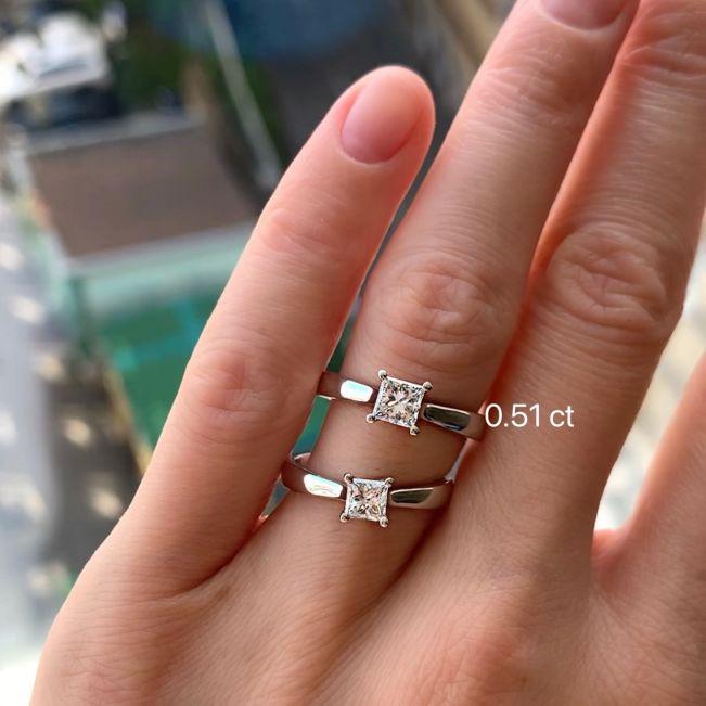 Кольцо с бриллиантом в форме квадрата 0.51 карат - Фото 3