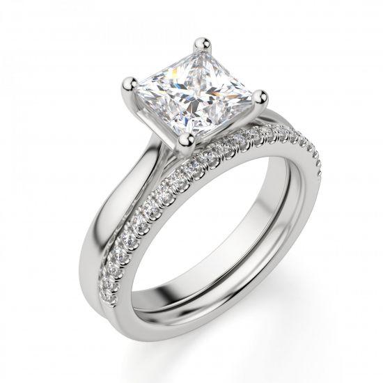 Кольцо с бриллиантом в форме квадрата,  Больше Изображение 5