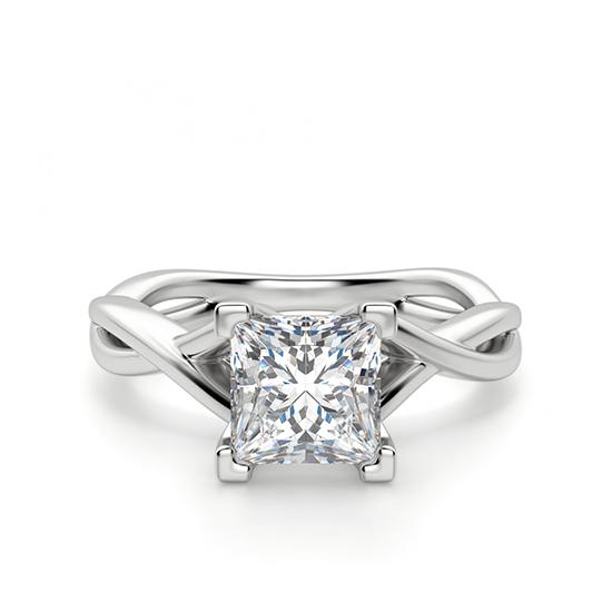 Кольцо из белого золота с бриллиантом принцесса, Больше Изображение 1