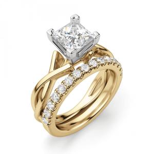 Кольцо из желтого золота с бриллиантом принцесса