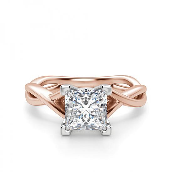 Кольцо розового золота с бриллиантом принцесса, Больше Изображение 1