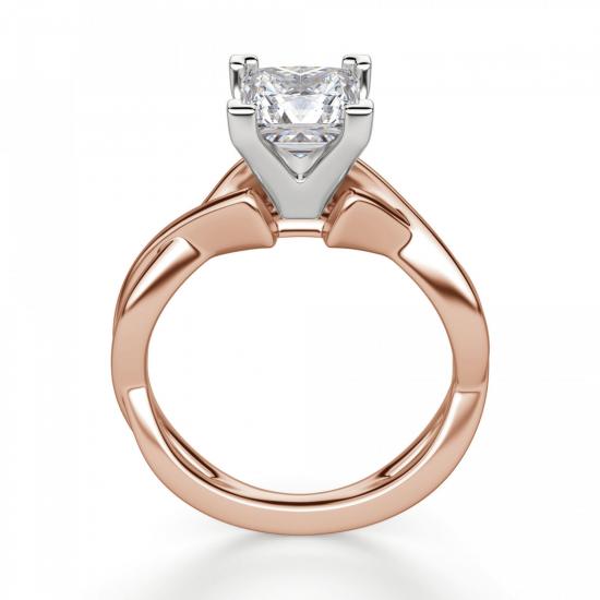 Кольцо розового золота с бриллиантом принцесса,  Больше Изображение 2