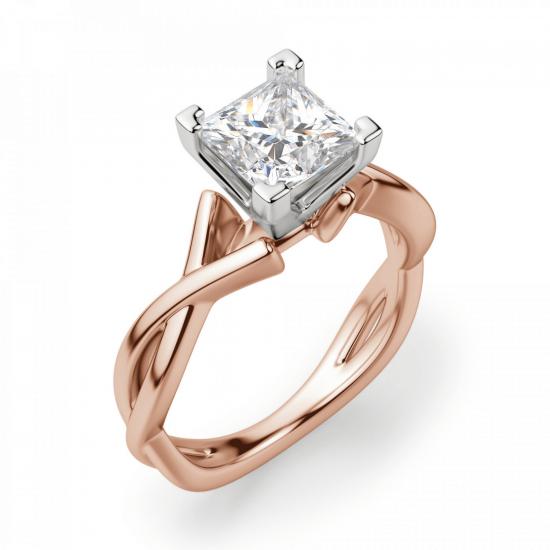 Кольцо розового золота с бриллиантом принцесса,  Больше Изображение 3
