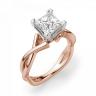 Кольцо розового золота с бриллиантом принцесса, Изображение 3