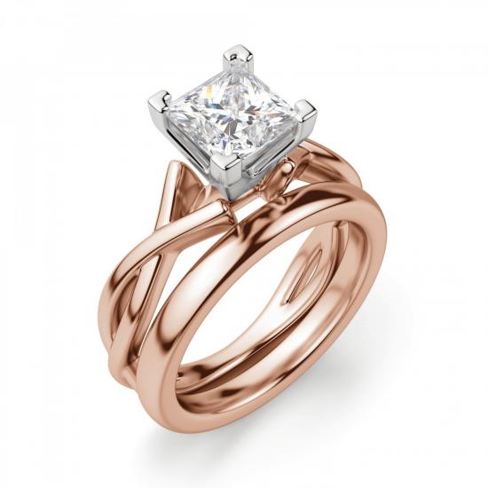 Кольцо розового золота с бриллиантом принцесса,  Больше Изображение 4