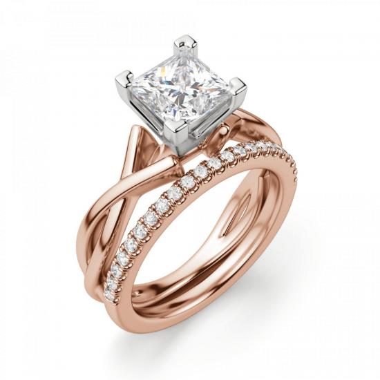 Кольцо розового золота с бриллиантом принцесса,  Больше Изображение 5