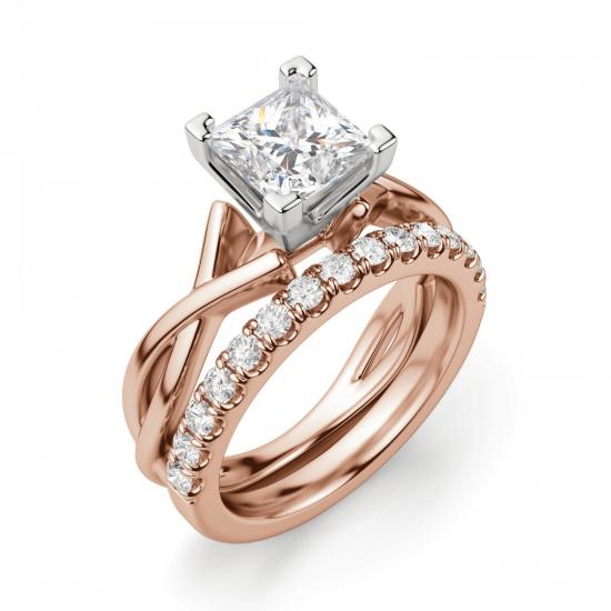 Кольцо розового золота с бриллиантом принцесса,  Больше Изображение 6