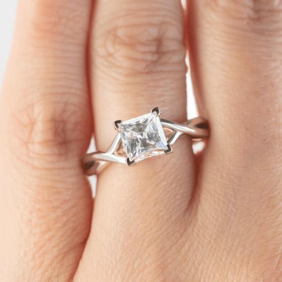 Кольцо розового золота с бриллиантом принцесса,  Больше Изображение 7