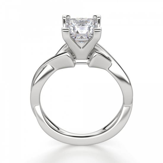 Кольцо из белого золота с бриллиантом принцесса,  Больше Изображение 2
