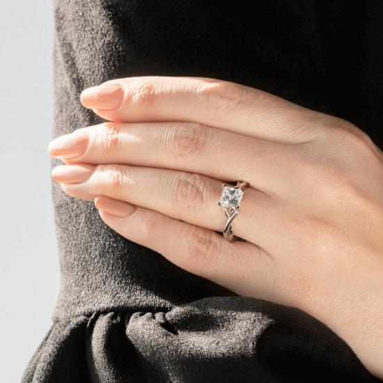 Кольцо розового золота с бриллиантом принцесса,  Больше Изображение 8