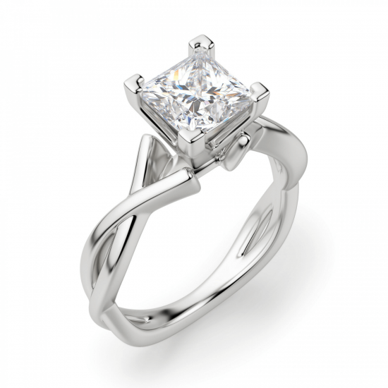 Кольцо из белого золота с бриллиантом принцесса,  Больше Изображение 3