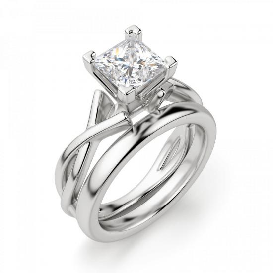 Кольцо из белого золота с бриллиантом принцесса,  Больше Изображение 4