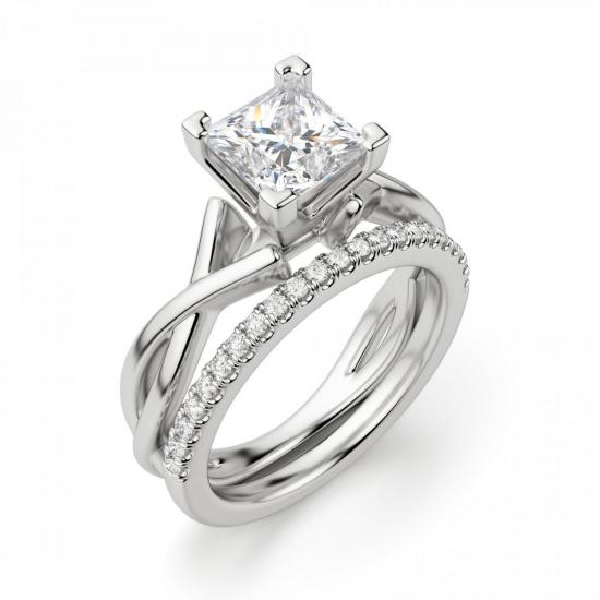 Кольцо из белого золота с бриллиантом принцесса,  Больше Изображение 5