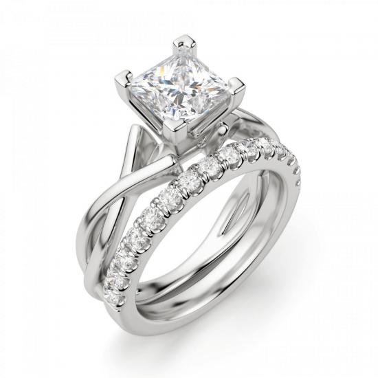Кольцо из белого золота с бриллиантом принцесса,  Больше Изображение 6