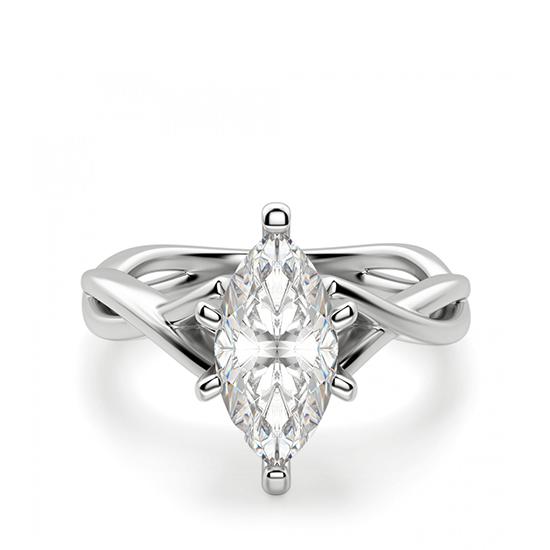 Кольцо из белого золота с бриллиантом маркиз, Больше Изображение 1