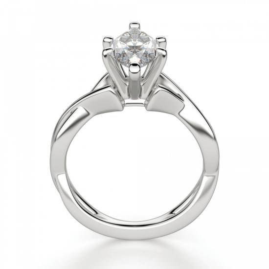 Кольцо из белого золота с бриллиантом маркиз,  Больше Изображение 2