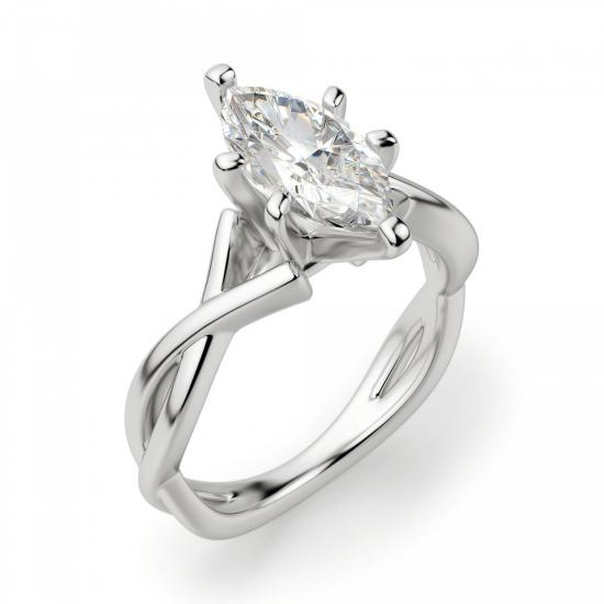 Кольцо из белого золота с бриллиантом маркиз,  Больше Изображение 3