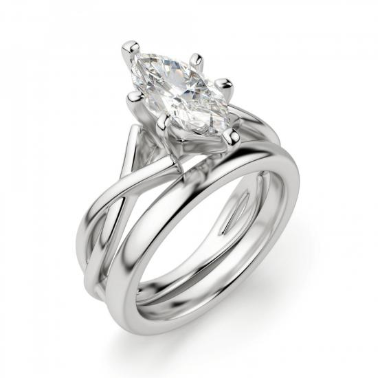 Кольцо из белого золота с бриллиантом маркиз,  Больше Изображение 4