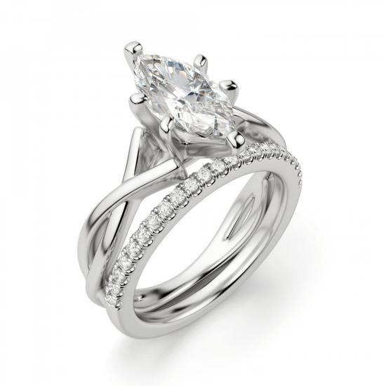 Кольцо из белого золота с бриллиантом маркиз,  Больше Изображение 5