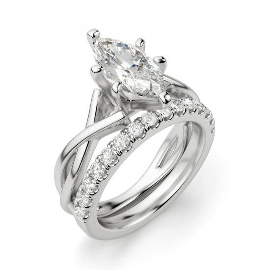 Кольцо из белого золота с бриллиантом маркиз,  Больше Изображение 6