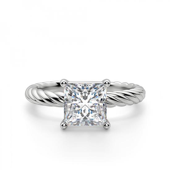 Кольцо канат с бриллиантом огранки Принцесса, Больше Изображение 1