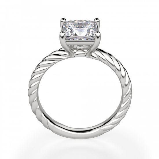 Кольцо канат с бриллиантом огранки Принцесса,  Больше Изображение 2