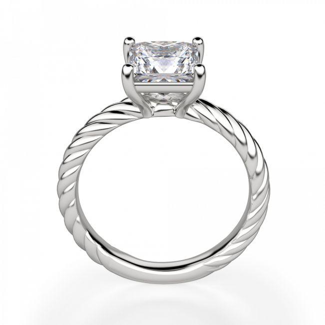 Кольцо канат с бриллиантом огранки Принцесса