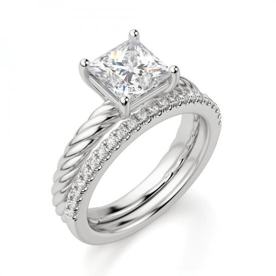 Кольцо канат с бриллиантом огранки Принцесса,  Больше Изображение 5