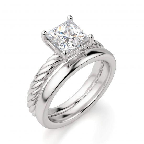 Кольцо канат с бриллиантом огранки Принцесса,  Больше Изображение 4