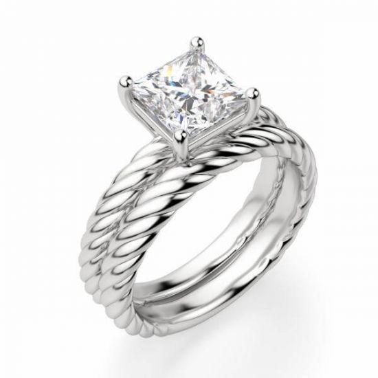 Кольцо канат с бриллиантом огранки Принцесса,  Больше Изображение 3
