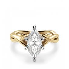 Кольцо из желтого золота с бриллиантом маркиз