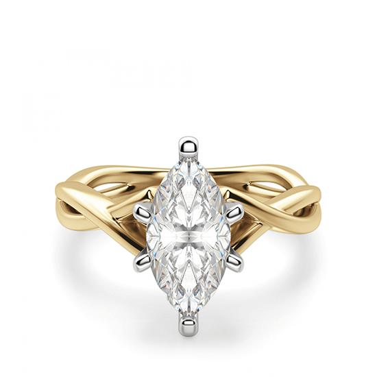 Кольцо из желтого золота с бриллиантом маркиз, Больше Изображение 1