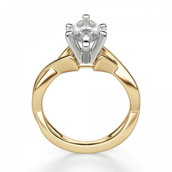 Кольцо из желтого золота с бриллиантом маркиз,  Больше Изображение 2