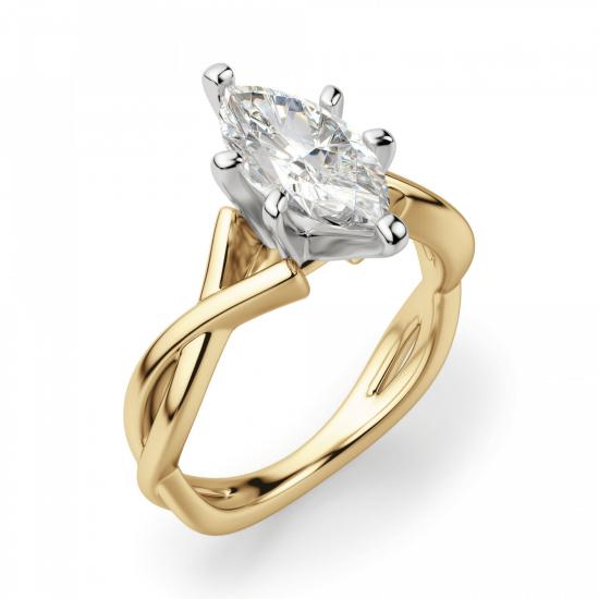 Кольцо из желтого золота с бриллиантом маркиз,  Больше Изображение 3