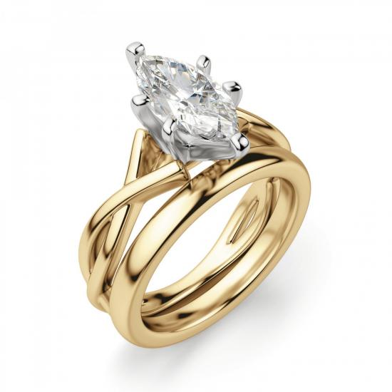 Кольцо из желтого золота с бриллиантом маркиз,  Больше Изображение 4