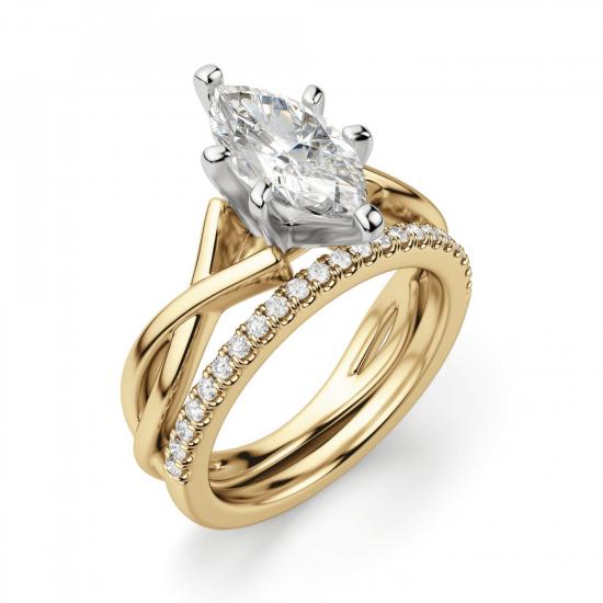 Кольцо из желтого золота с бриллиантом маркиз,  Больше Изображение 5