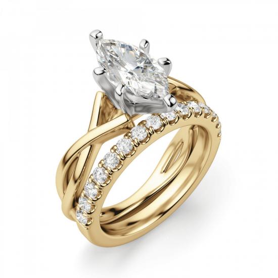 Кольцо из желтого золота с бриллиантом маркиз,  Больше Изображение 6