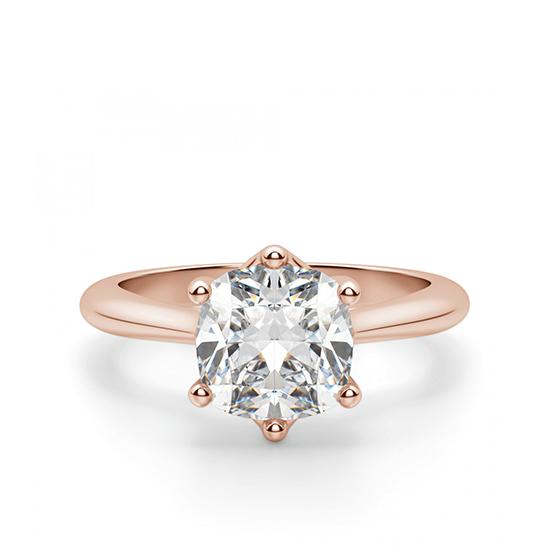 Кольцо с бриллиантом кушон в 6 крапанах, Больше Изображение 1
