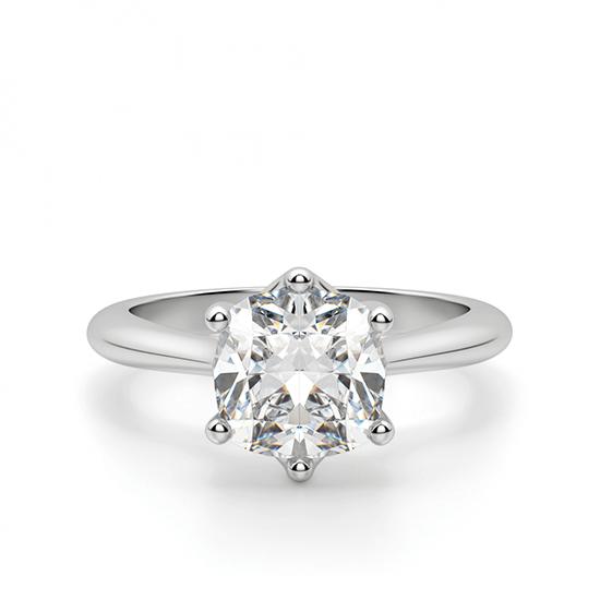 Кольцо из белого золота с бриллиантом кушон, Больше Изображение 1