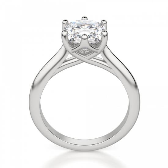Кольцо из белого золота с бриллиантом кушон,  Больше Изображение 2