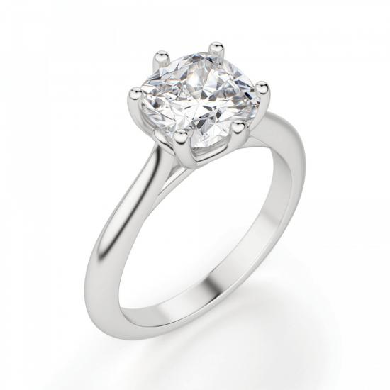 Кольцо из белого золота с бриллиантом кушон,  Больше Изображение 3